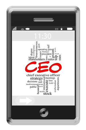 CEO Word Cloud Concept of Touchscreen Phone with great terms such as chief, executive, officer and more. Stock Photo - 18019993