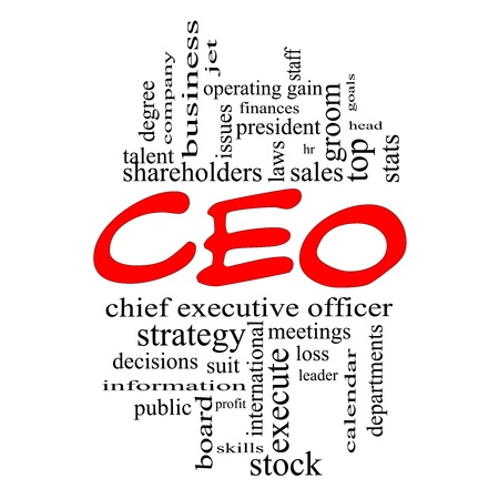 chief executive officers: CEO Word Cloud Concept in red caps with great terms such as operating gain, execute, leader and more.