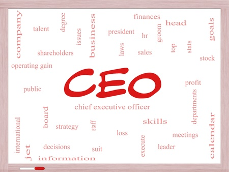 loss leader: CEO Word Cloud Concept on a Dry Erase Board with great terms such as operating gain, execute, leader and more.