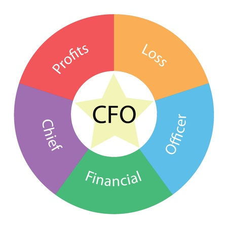 cfo: A CFO circular concept with great terms around the center including profits, loss, and financial with a yellow star in the middle Stock Photo