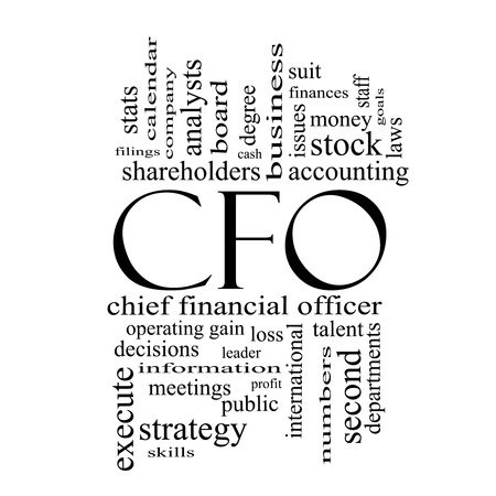 cfo: CFO Word Cloud Concept in black and white with great terms such as leader, finanaces, goals, profit and more.