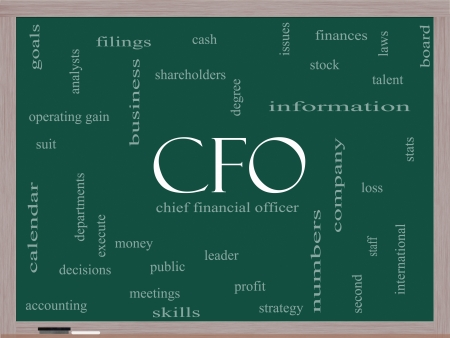 cfo: CFO Word Cloud Concept on a Blackboard with great terms such as leader, finanaces, goals, profit and more.
