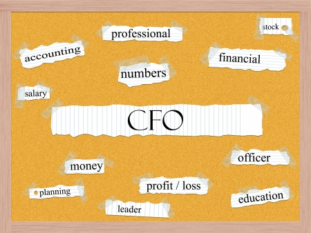 CFO Corkboard Word Concept with great terms such as accounting, numbers, officer and more. photo