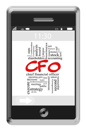 loss leader: CFO Word Cloud Concept of Touchscreen Phone with great terms such as financial, accounting, chief and more.