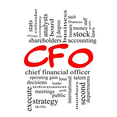 cfo: CFO Word Cloud Concept in red caps with great terms such as leader, finanaces, goals, profit and more. Stock Photo