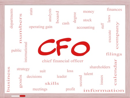 CFO Word Cloud Concept on a Dry Erase Board with great terms such as leader, finanaces, goals, profit and more. Stock Photo - 18020008