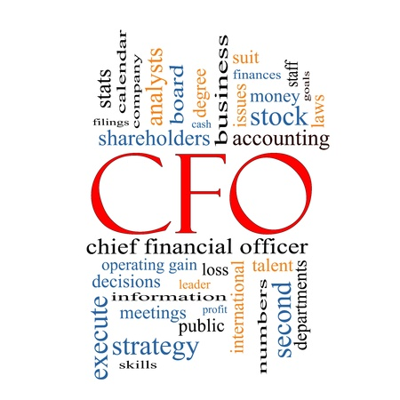 CFO Word Cloud Concept with great terms such as leader, finanaces, goals, profit and more.