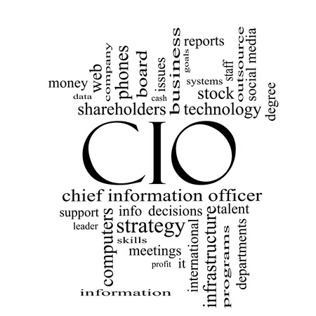 CIO Word Cloud Concept in black and white with great terms such as information, officer, data, reports and more. Stock Photo - 18020004