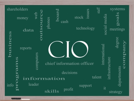 CIO Word Cloud Concept on a Blackboard with great terms such as information, officer, data, reports and more. Stock Photo - 18020016