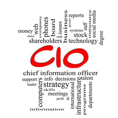 CIO Word Cloud Concept in red caps with great terms such as information, officer, data, reports and more. Stock Photo