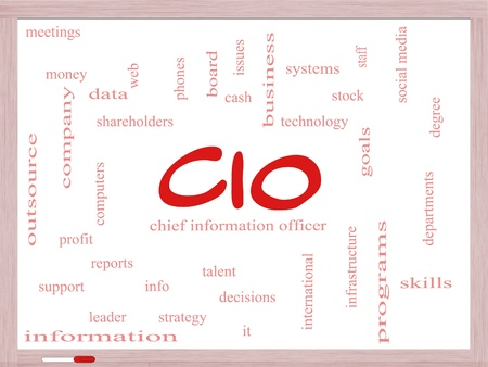 CIO Word Cloud Concept on a Dry Erase Board with great terms such as information, officer, data, reports and more. Stock Photo - 18020007