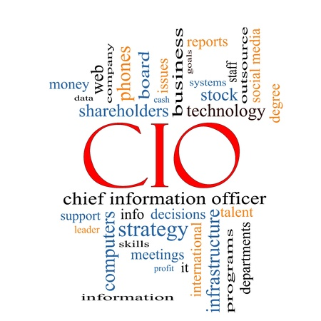 CIO Word Cloud Concept with great terms such as information, officer, data, reports and more. Stock Photo