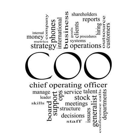 coo: COO Word Cloud Concept in black and white with great terms such as chief, operating, officer, goals and more.