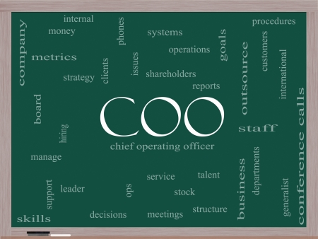 COO Word Cloud Concept on a Blackboard with great terms such as chief, operating, officer, goals and more. Stock Photo - 18020018