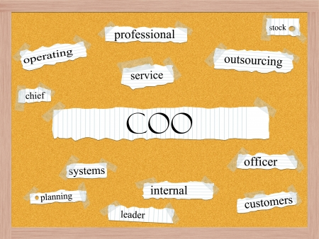 coo: COO Corkboard Word Concept with great terms such as operating, officer, service and more. Stock Photo