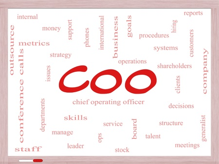 COO Word Cloud Concept on a Dry Erase Board with great terms such as chief, operating, officer, goals and more. Stock Photo - 18020006