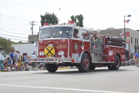 SEYMOUR, WI - AUGUST 4:  Balsam Court Fire Truck at the Annual Hamburger Festival Parade on August 4, 2012 in Seymour, Wisconsin.