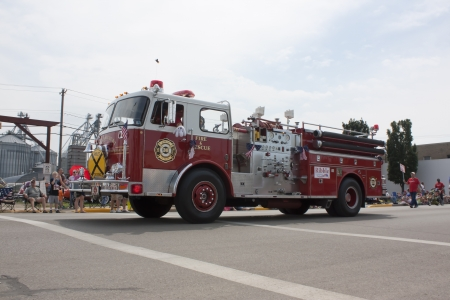 SEYMOUR, WI - AUGUST 4:  Side View of Balsam Court Fire Truck at the Annual Hamburger Festival Parade on August 4, 2012 in Seymour, Wisconsin.