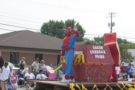 spider man: SEYMOUR, WI - AUGUST 4:  Truck pulling Hardees Float Spider Man Close Up at the Annual Hamburger Festival Parade on August 4, 2012 in Seymour, Wisconsin.
