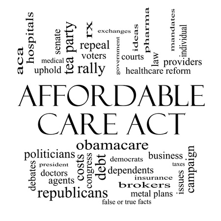 care providers: Affordable Care Act Word Cloud Concept in black and white with great terms such as healthcare reform, exchanges, insurance, law and more.