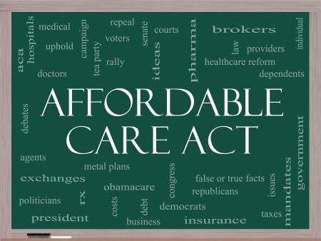 Affordable Care Act Palabra Nube Concepto en una pizarra con términos tales como la reforma de salud, los intercambios, los seguros, la ley y más.