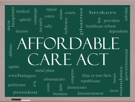 Affordable Care Act Word Cloud Concept on a Blackboard with great terms such as healthcare reform, exchanges, insurance, law and more. Stock Photo