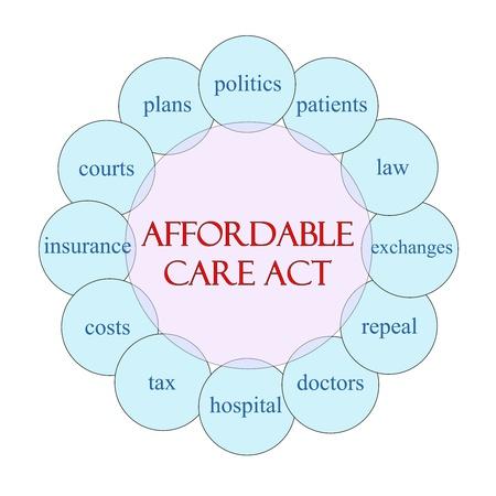 手頃な価格の医療法循環における概念図ピンクとブルー医師、交換、保険、費用など偉大な条件で。