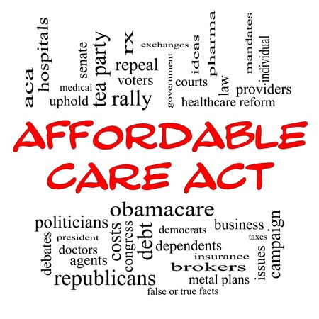 uphold: Affordable Care Act Word Cloud Concept in Red Caps with great terms such as healthcare reform, exchanges, insurance, law and more. Stock Photo