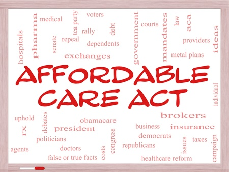 care providers: Affordable Care Act Word Cloud Concept on a Whiteboard with great terms such as healthcare reform, exchanges, insurance, law and more.