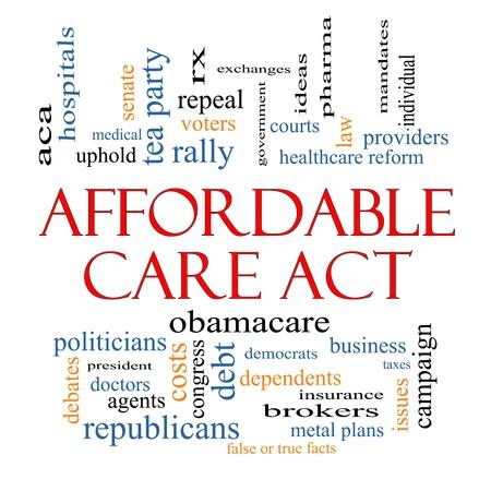 falso: Affordable Care Act Palabra Nube Concepto con los términos tales como la reforma de salud, los intercambios, los seguros, la ley y más.