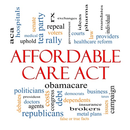 care providers: Affordable Care Act Word Cloud Concept with great terms such as healthcare reform, exchanges, insurance, law and more.
