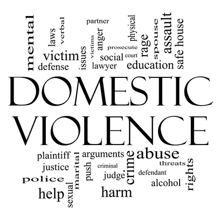 Domestic Violence Word Cloud Concept in Black and White with great terms such as victim, assault, judge, harm, social, education and more.