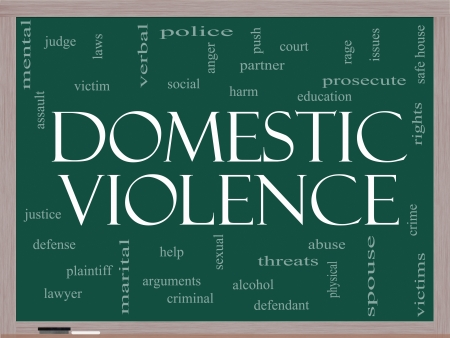 Domestic Violence Word Cloud Concept on a Blackboard with great terms such as victim, assault, judge, harm, social, education and more. photo