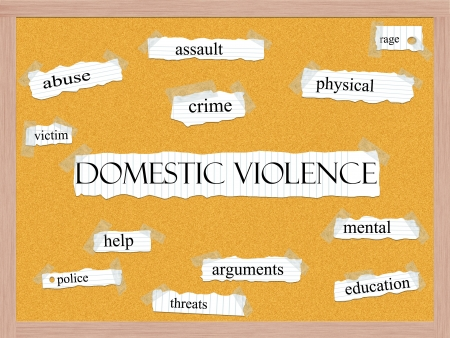 Domestic Violence Corkboard Word Concept with great terms such as abuse, crime, victim, help, police and more.