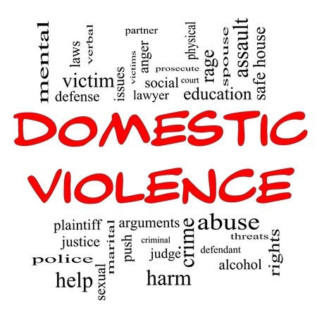 Domestic Violence Word Cloud Concept in Red Caps with great terms such as victim, assault, judge, harm, social, education and more.
