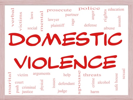Domestic Violence Word Cloud Concept on a Whiteboard with great terms such as victim, assault, judge, harm, social, education and more. photo