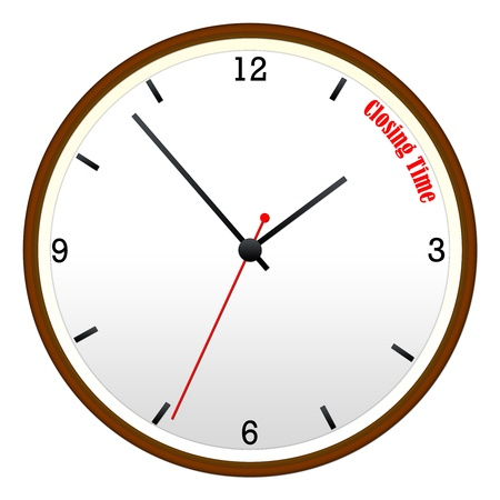 closing time: Closing Time Wall Clock with hour, minutes, and second hand. Stock Photo