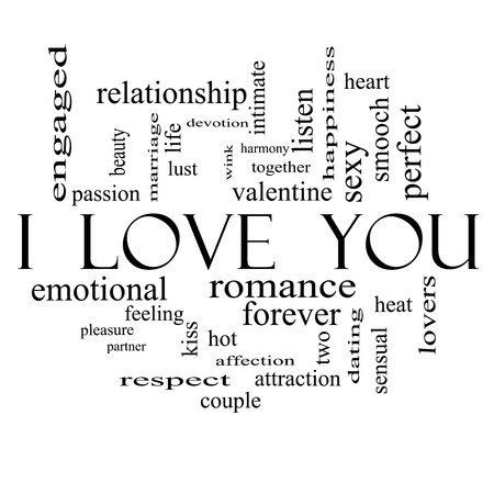 I Love You Word Cloud Concept in black and white with great terms such as valentine, lovers, kiss, romance and more.