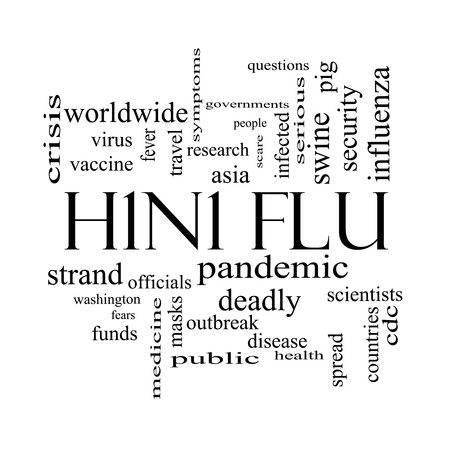 outbreak: H1N1 Flu Word Cloud Concept in black and white with great terms such as fever, asia, pandemic, outbreak and more.