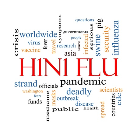 pandemic: H1N1 Flu Word Cloud Concept with great terms such as fever, asia, pandemic, outbreak and more. Stock Photo