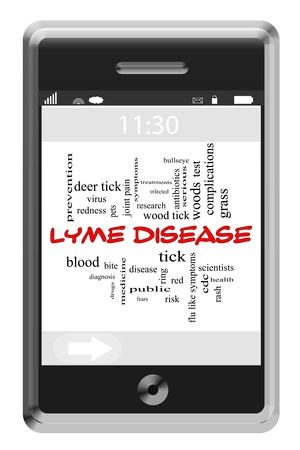 Lyme Disease Word Cloud Concept of Touchscreen Phone with great terms such as deer, tick, bite, blood and more.