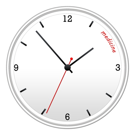 Time for Medicine concept on a white wall clock with black hands and red second hand.