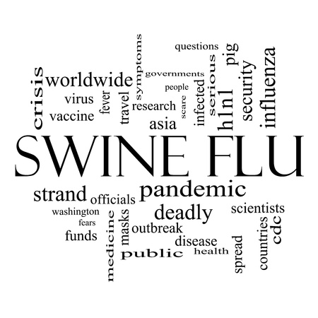 swine flu vaccination: Swine Flu Word Cloud Concept in black and white with great terms such as fever, asia, pandemic, outbreak and more. Stock Photo