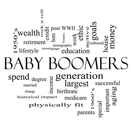 boomers: Baby Boomers Word Cloud Concept in black and white with great terms such as generation, largest, demographic and more.