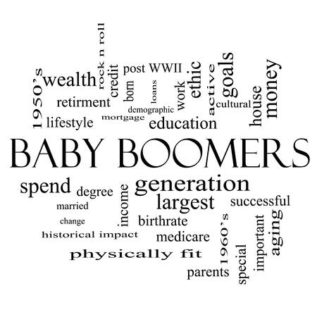 demographic: Baby Boomers Word Cloud Concetto in bianco e nero con termini grandi come la generazione, la pi� grande, demografico e altro ancora.