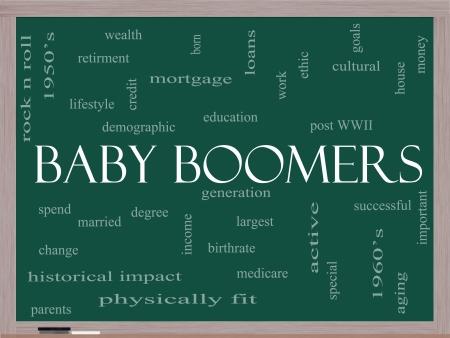 ethic: Baby Boomers Nube Concetto Word su una lavagna con i termini come la generazione, la pi� grande, demografici e di pi�.