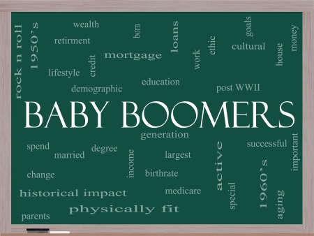 aging: Baby Boomers Word Cloud Concept on a Blackboard with great terms such as generation, largest, demographic and more.