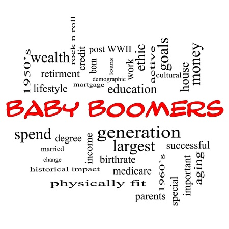 boomers: Baby Boomers Word Cloud Concept in red caps with great terms such as generation, largest, demographic and more. Stock Photo