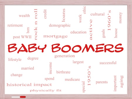 Baby Boomers Word Cloud Concept on a Whiteboard with great terms such as generation, largest, demographic and more. photo