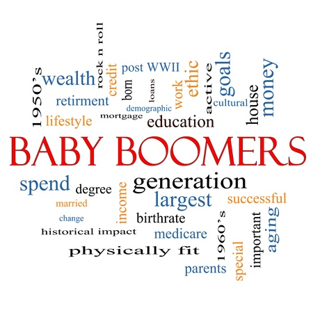 boomers: Baby Boomers Word Cloud Concept with great terms such as generation, largest, demographic and more.